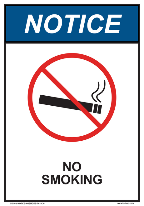 "notice no smoking sign 7"" x 10"""