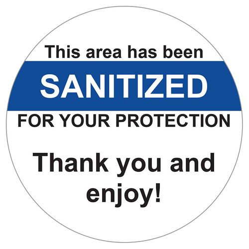 this area has been sanitized for your protection sticker for tables and chairs