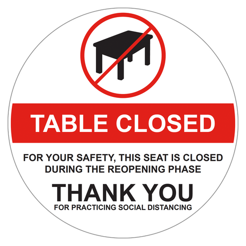 table closed decal seat closed decal