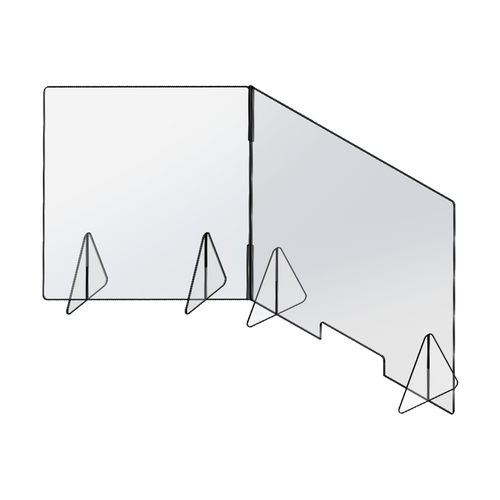36 inch by 24 inch L-Shaped Sneeze Guard Kit drawing