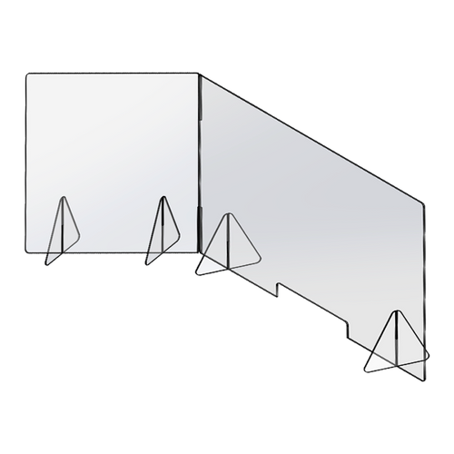 48 inch by 24 inch L-Shaped Sneeze Guard Kit drawing
