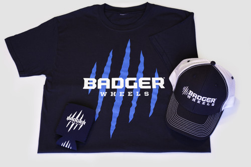 Badger apparel multipak, one mens or womens soft cotton TShirt, one midrise trucker hat, one koozie.