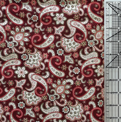 Pink & White Paisley on Maroon
