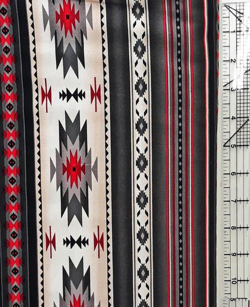 Red, Black, Cream Blanket Stripe on Gray