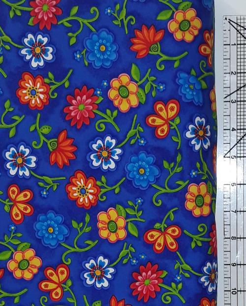 Happy Flowers on Blue