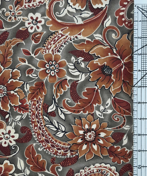 Rust and Cream Floral on Grey