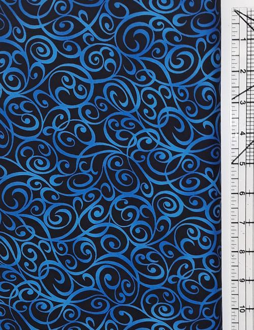 Blue Swirls on Black