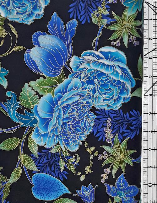 Blue Floral on Black