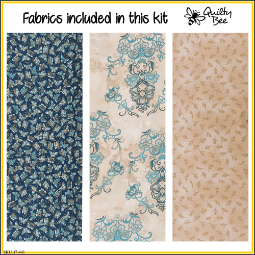 KT-47-441 Quilt kit with fabric and pattern.  Shades of teal, mint, cream and accented with gold metallic.  A print with ornamental medallions is the focal with a dark teal featuring little butterflies.