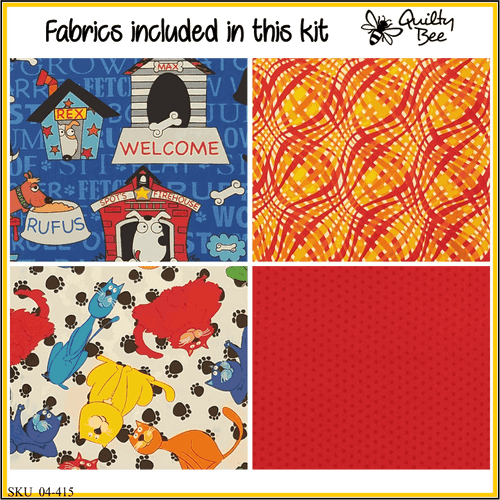 KT-04-415  Pet Lover quilt kit with fabric and pattern Bright primary colors with dogs and cats is any pet lovers dream.