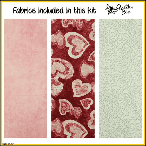 KT-03-329  Valentine quilt kit with fabric and pattern.   Mottled deep red, soft pink and winter white make a sweet valentine quilt.  Skill level: Easy.