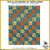 KT-04-407  Quilt kit with fabric and pattern Abstract floral batik in shades of brown, blues and greens with gold metallic accents.