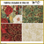 KT-47-439  Christmas quilt kit with fabric and pattern  Elegant Christmas quilt with lovely floral in shades of red and green.