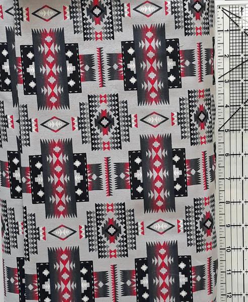 Red & Black Southwest Design on Gray