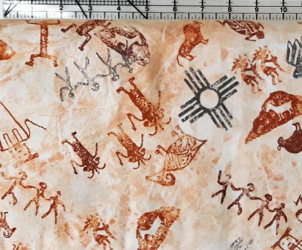 Petroglyphs on mottled Beige