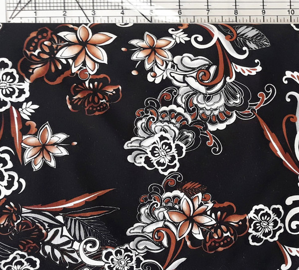 Brown & White Floral on Charcoal