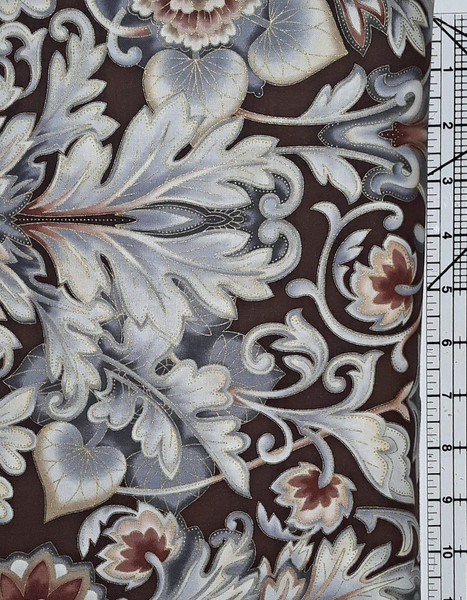 Large Floral and Flourishes on Grey