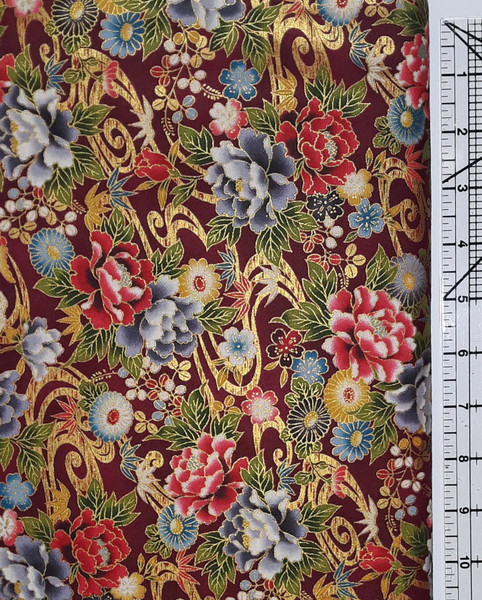 Red and Grey Floral on Maroon