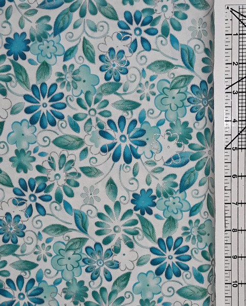 Teal Floral with Silver