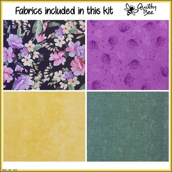 Fabrics in quilt kit, floral, purple, yellow, green, butterfly