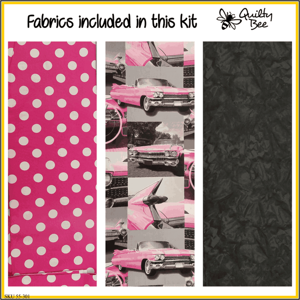 KT-55-301  Quilt kit with fabric and Spaceman pattern.  Retro pink Cadillac print with fun polka dots and a black background.