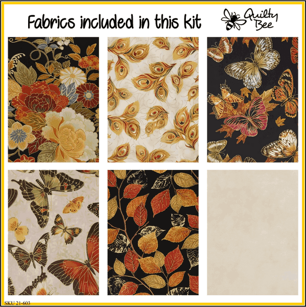 KT-21-603 Quilt kit with fabric and pattern Beautiful autumnal colors in a variety of prints on a soft beige background.  Lovely butterflies and florals grace this fabric kit.