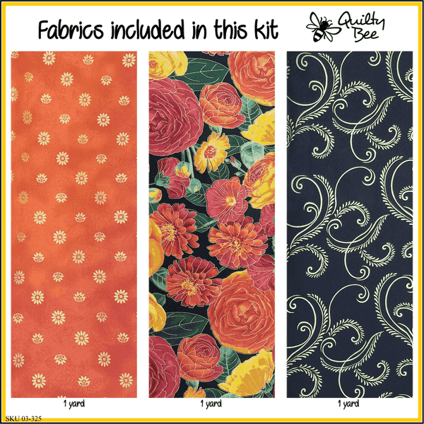 KT-03-325 Quilt kit with fabric and pattern Vibrantly colored ranunculus flowers on black with metallic gold outlines is paired with bright, deep orange with metallic gold flowers.