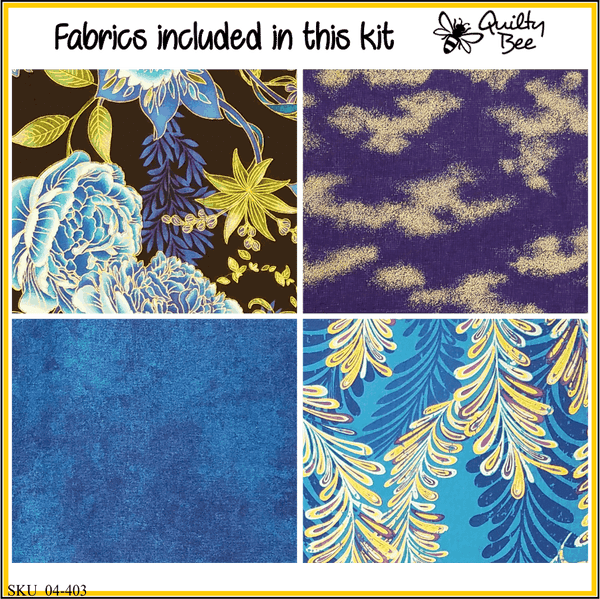 KT-04-403 Quilt kit with fabric and pattern Lovely peonies in shades of blue, turquoise and winter white on a black background.