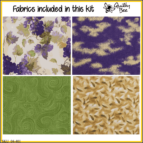 KT-04-401 Quilt kit with fabric and pattern Grape bunches in shades of purples, greens and a bit of goldenrod.