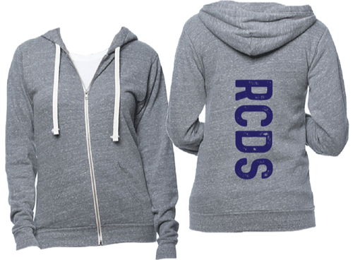 Heather gray zip hoodie with navy RCDS on back