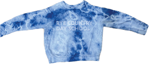 Blue tie dye light weight french terry raglanwith Rye Country Day School in white on front.