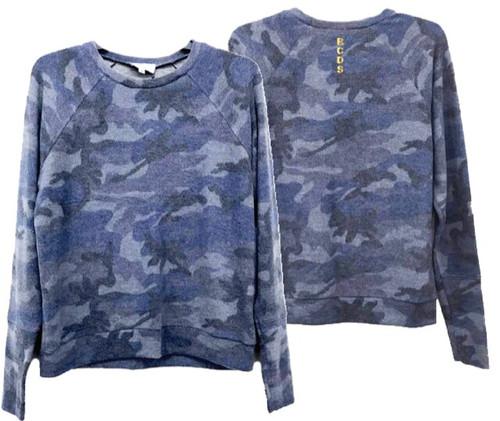 Splatter Blue Camo Raglan Sweater - Youth