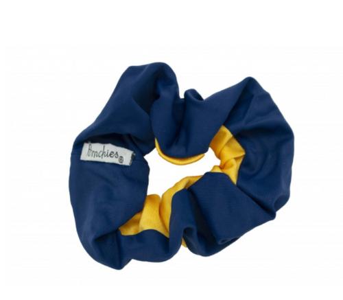 Scrunchie - Navy & Yellow Gold