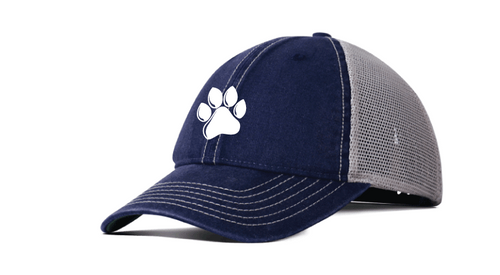Vintage Trucker Hat Navy/Khaki with White Embroidered Paw