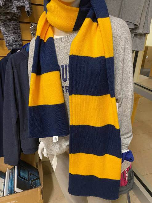 Yellow and Blue Striped Wool Scarf