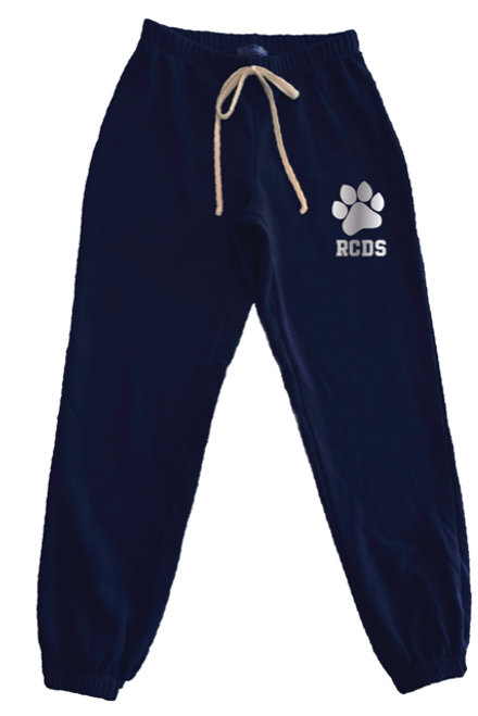Splatter Navy Sweatpants with Silver RCDS and Paw - Youth
