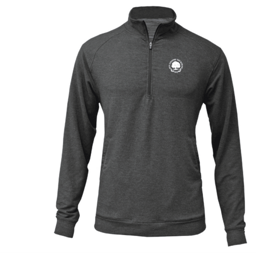 Heather Black 1/4 Zip Pullover with White RCDS Seal On Chest - Adult
