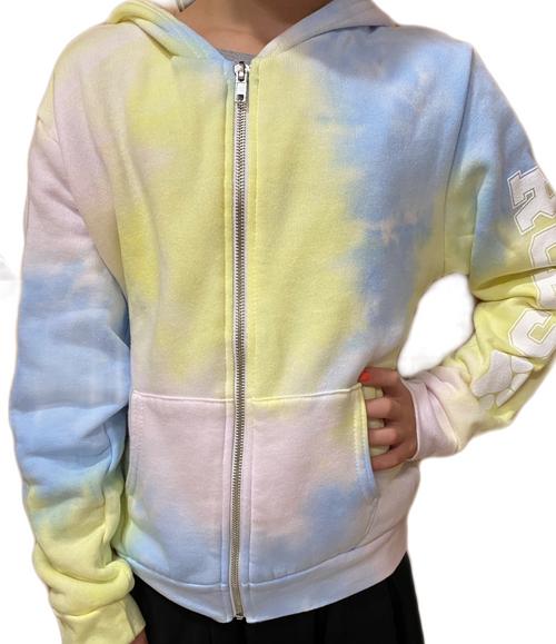 Splatter Unisex Fleece Zip Up Pastel Tie Dye Hoodie - Youth