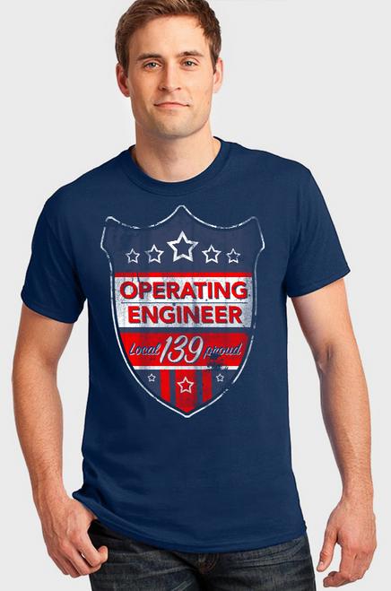 Operating Engineer Distressed Badge T-Shirt