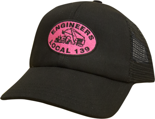 Local 139 Pink logo embroidered trucker hat