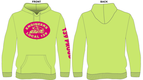 Safety Green Hoodie With Pink Logo