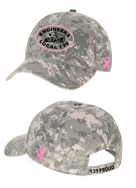 Camo Hat - Pink outlined logo w/ ribbon for cancer awareness