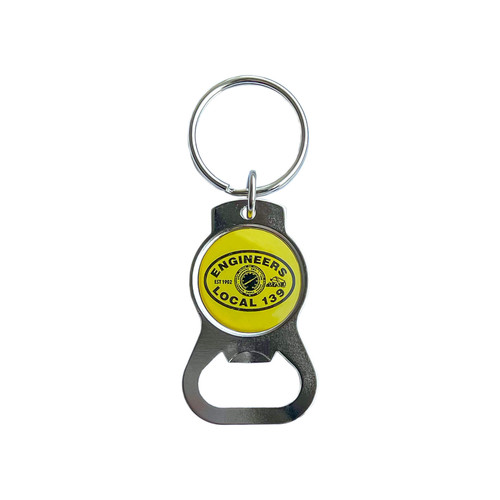 Front of keychain with Local 139 logo epoxy dome.