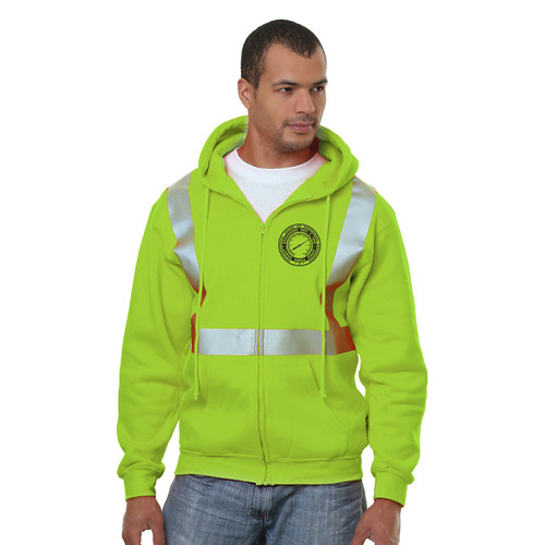 Hi-Vis Full Zip Hoodie with 3M Reflective Striping