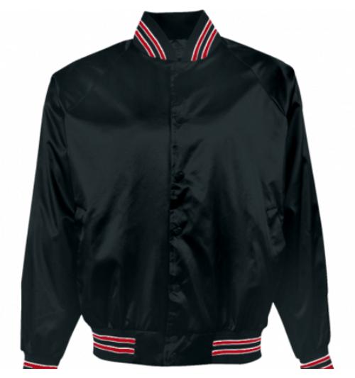 Baseball Jacket - Flannel Lined - Black & Red