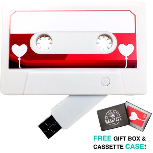 Main hero image heart ballon retro mixtape cassette usb flash drive gift for loved one