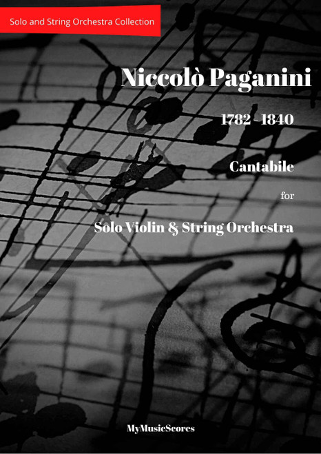Paganini Cantabile for Violin and String Orchestra Cover