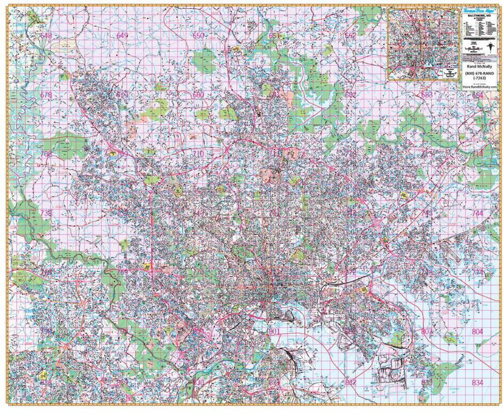 Thomas Bros. Baltimore Wall Map