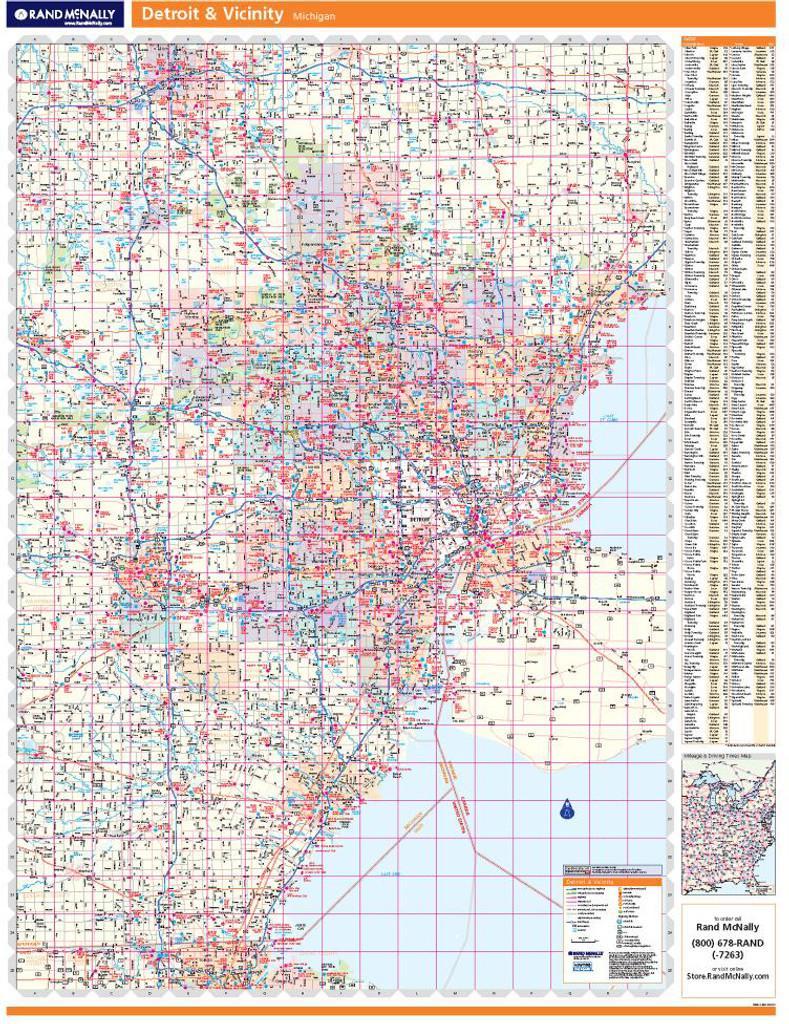 Rand McNally Detroit Regional Wall Map on