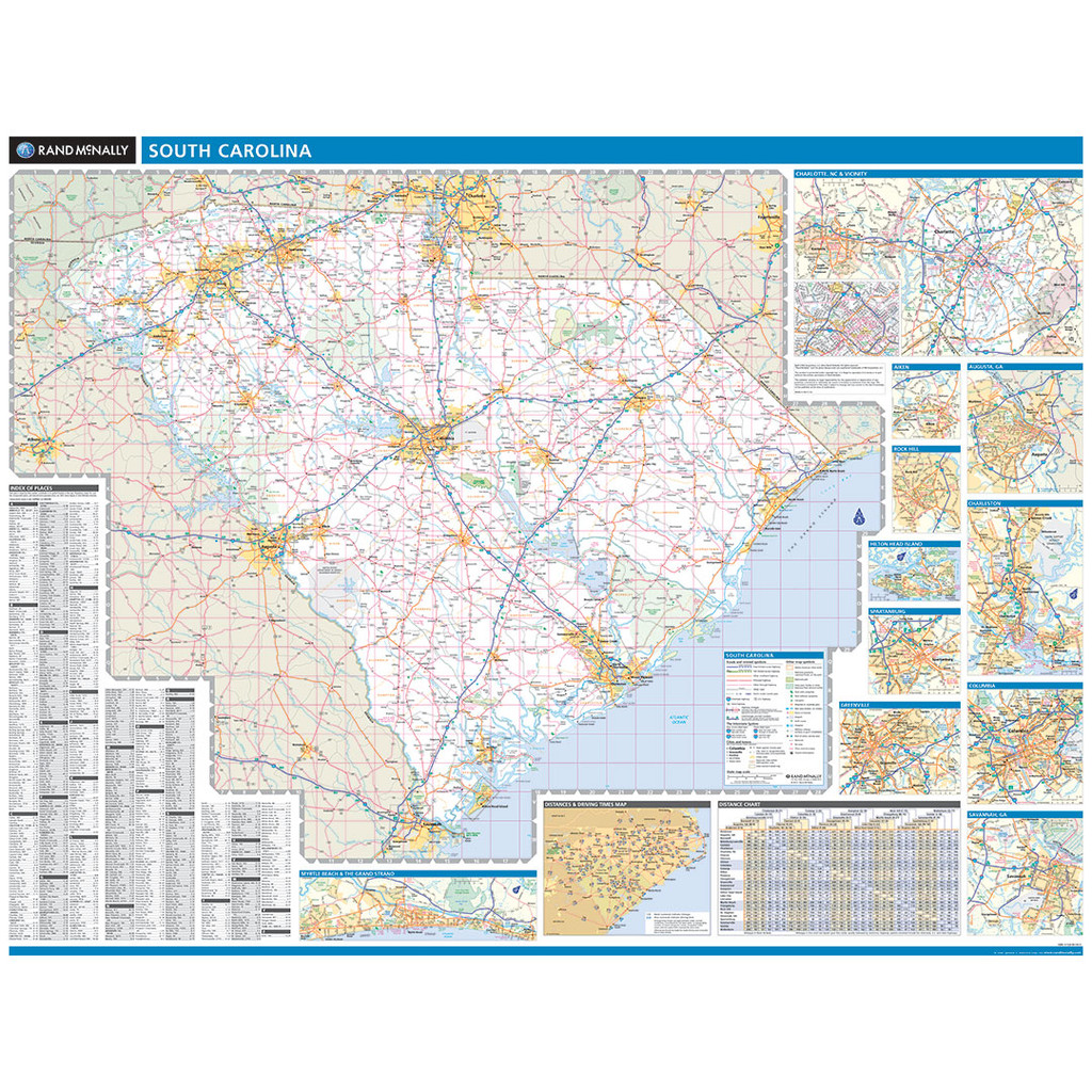 Rand McNally South Carolina State Wall Map